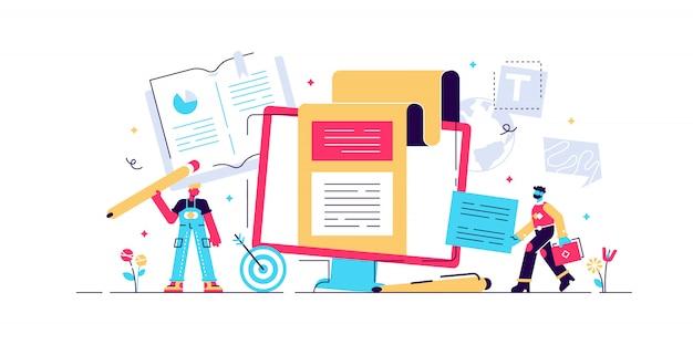 Копирайтинг концепция веб-страницы, баннер, презентация, социальные медиа, документы, открытки, плакаты. иллюстрация Premium векторы