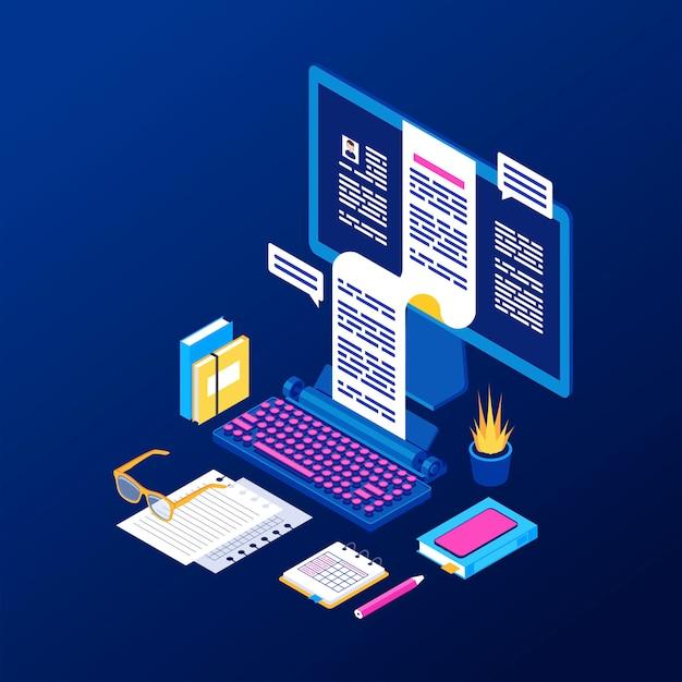 Copywriting, content creation isometric vector illustration Premium Vector