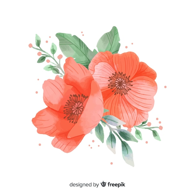 Coral flower made with watercolors Free Vector