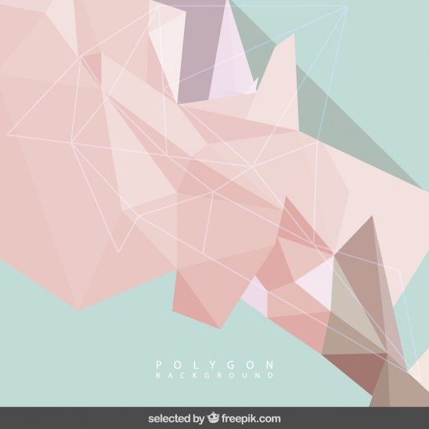 Coral and mint polygonal background Free Vector