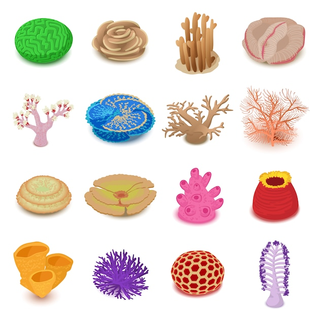 Coral reef icons set. isometric illustration of 16 coral ...