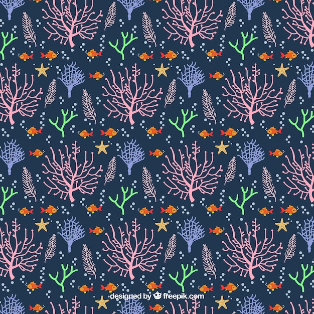 Coral seamless pattern design in flat style Free Vector