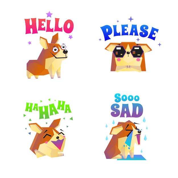 Corgi stickers emoticon set Free Vector