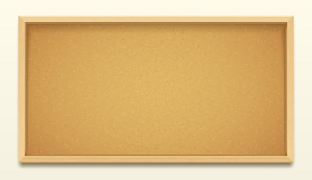 木製フレームの背景、現実的なコルクボードまたはピンや画鋲のメモの掲示板のコルクボード。掲示メモとタスク投稿用のオフィスコルクボードまたは学校のメッセージピンボード Premiumベクター
