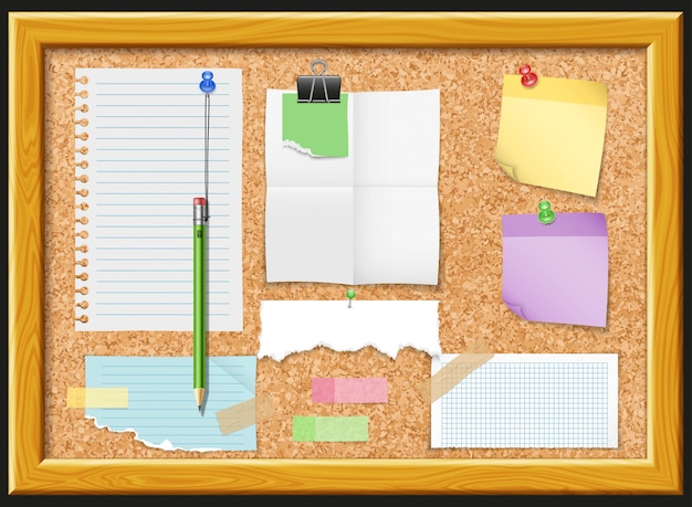 Cork board and note papers design Free Vector