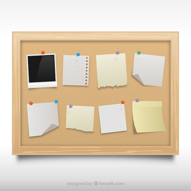 Cork board with notes Free Vector