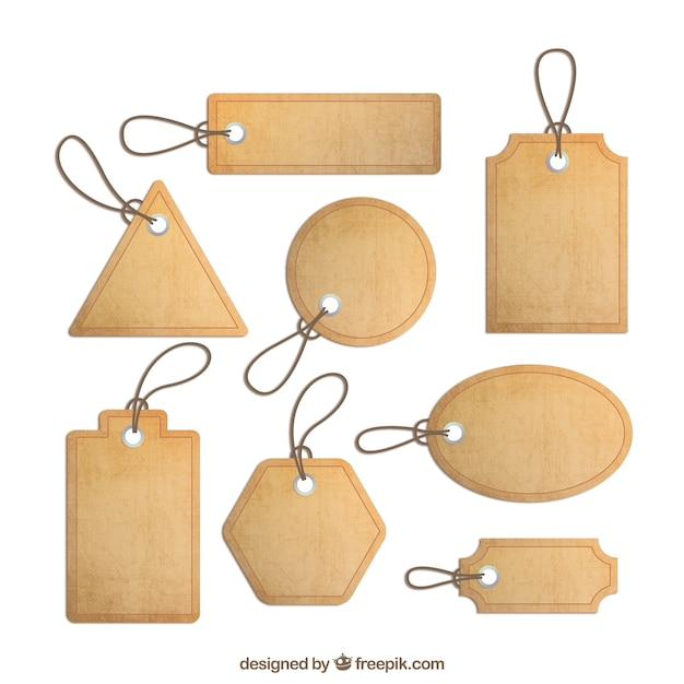 Cork labels collection Free Vector