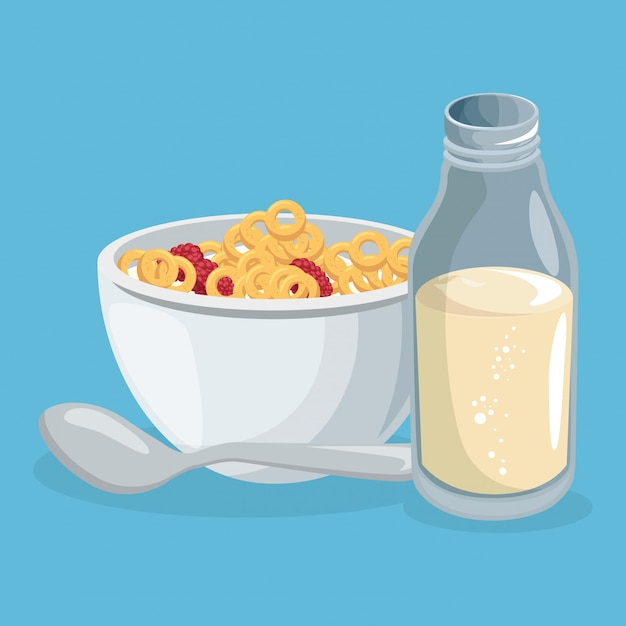 Corn flakes and milk delicious food breakfast Free Vector