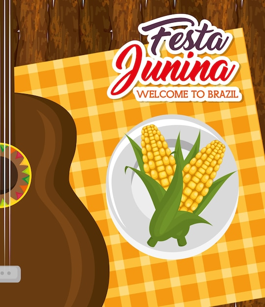 Corn on plate and guitar over wooden table and orange square tablecloth vector illustration Premium Vector