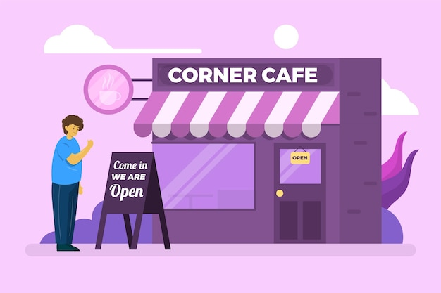 Corner coffee shop re-opening the business Free Vector