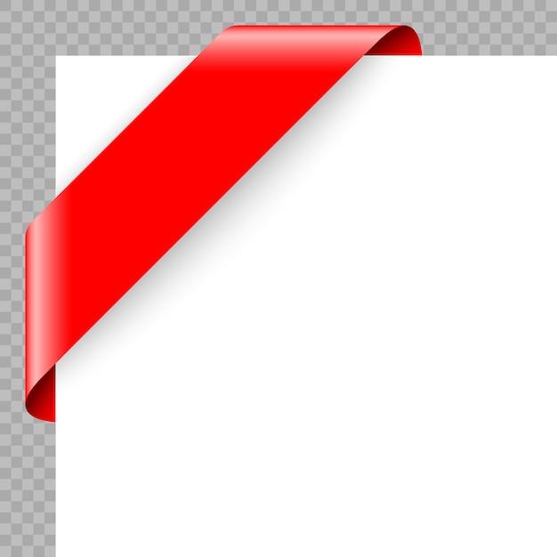 Corner ribbon or banner on white background. Premium Vector