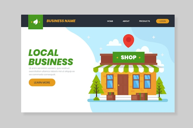 Corner store local business landing page Free Vector