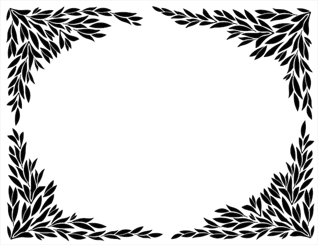 Corners for frames of leaf silhouettes Premium Vector