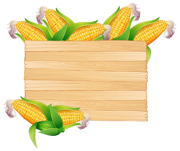 Corns in wooden bucket Free Vector