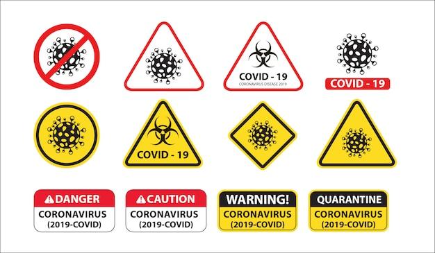 Corona virus biohazard lockdown sign Free Vector