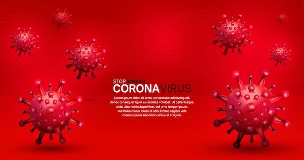 Корона вирус. иллюстрация для кампании, плакат, баннер, фон с красным фоном Premium векторы
