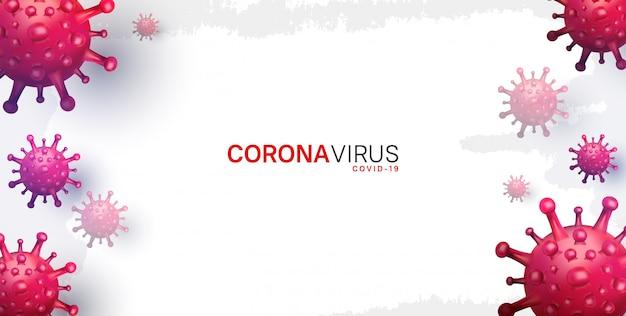 Корона вирус. иллюстрация для кампании, плакат, баннер, фон с красным вирусом Premium векторы