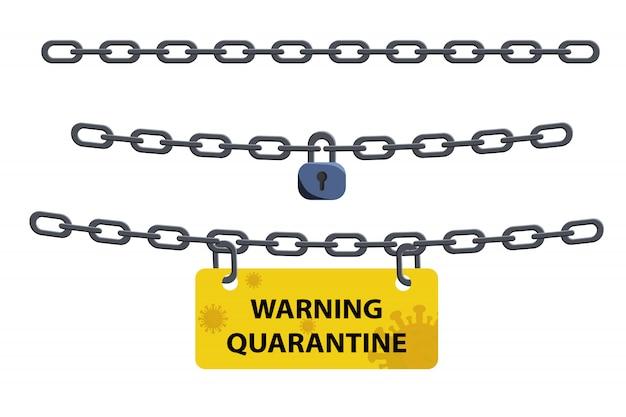Corona virus lock down symbol. corona virus pandemic puts countries on lock down. lock down concept for virus outbreak. Premium Vector