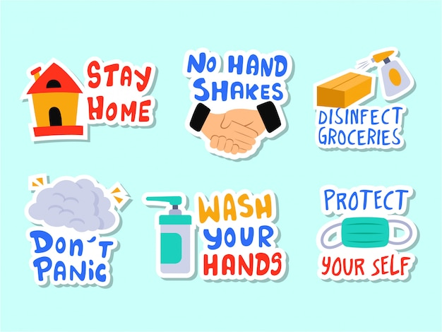 Corona virus prevention sticker set Premium Vector
