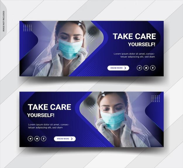 コロナウイルス警告facebookカバーテンプレートデザイン Premiumベクター