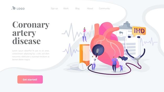 Coronary artery disease landing page template Free Vector