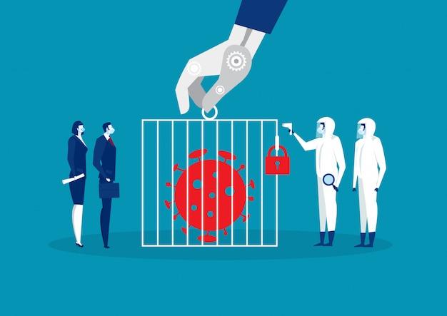 コロナウイルス2019-ncovがチームビジネスで刑務所に、医師がウイルス対策用保護マスクシールドを着用 Premiumベクター