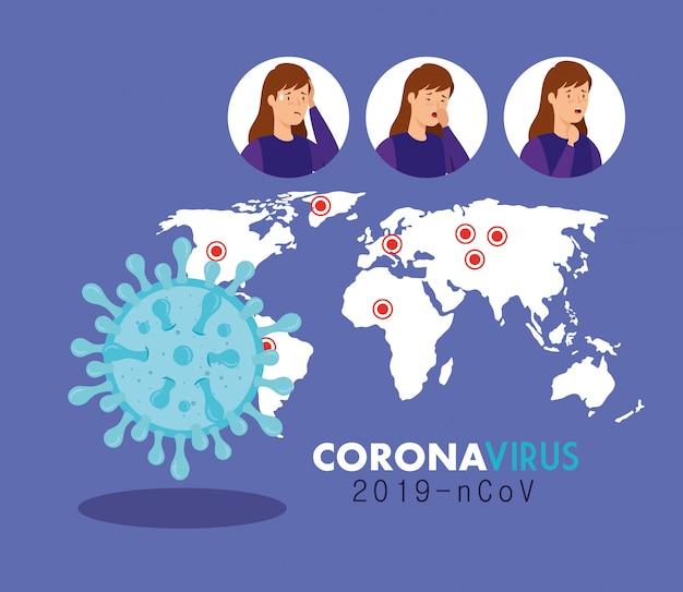 女性イラスト付きコロナウイルス2019 ncovポスター 無料ベクター