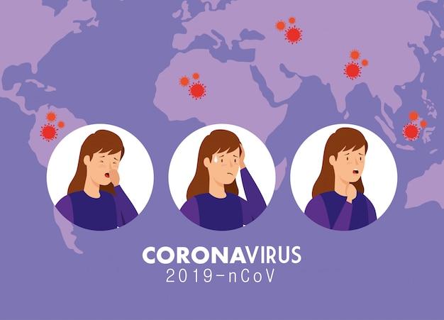 コロナウイルス2019のncovの症状と女性のイラスト 無料ベクター