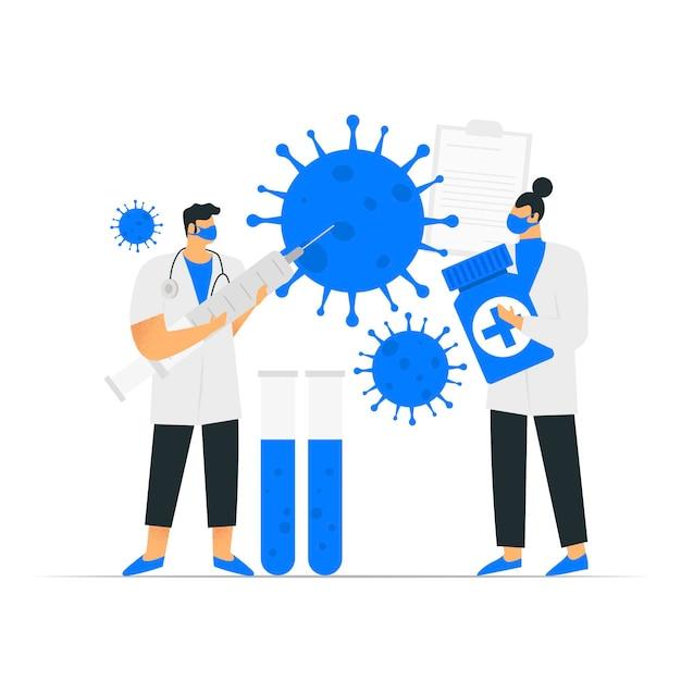Illustrazione di sviluppo dell'antidoto del coronavirus Vettore gratuito