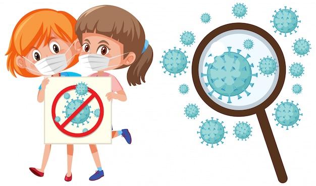 Coronavirus cells and two girls wearing mask protection | Premium ...