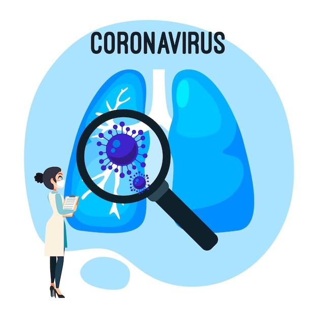 コロナウイルスの肺の概念図 無料ベクター