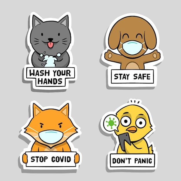 Collezione di adesivi del concetto di coronavirus con simpatici animali Vettore gratuito