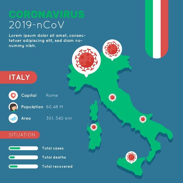 Mappa di coronavirus paese infografica Vettore gratuito