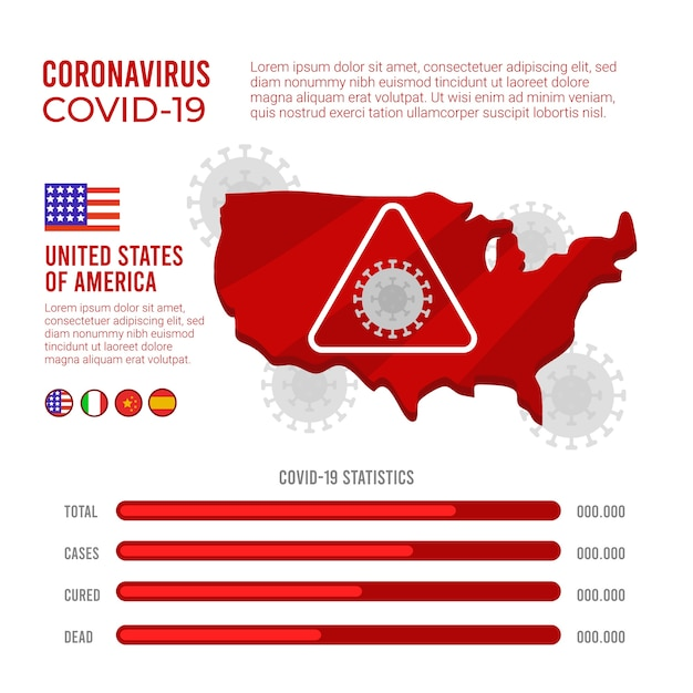 Coronavirus country map infographic Free Vector