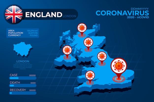 コロナウイルス国地図インフォグラフィック 無料ベクター