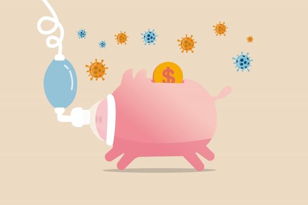 コロナウイルスcovid-19のクラッシュは経済不況を引き起こし、コロナウイルスの発生概念による世界経済の重大な影響、covid-19ウイルスの病原体を備えた人工呼吸器の重要な病気の貯金箱。 Premiumベクター