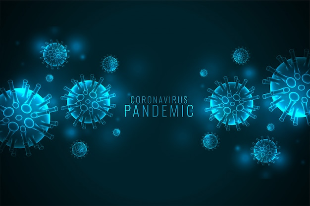 Coronavirus covid-19 pandemic banner with virus cells Free Vector