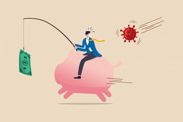 Coronavirus crisis money stimulus policy, qe or money injection to aid economics and business to survive in covid-19 outbreak, businessman riding piggy bank fishing with money banknote run from virus. Premium Vector