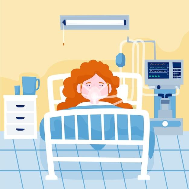 Coronavirus critical patient concept Free Vector