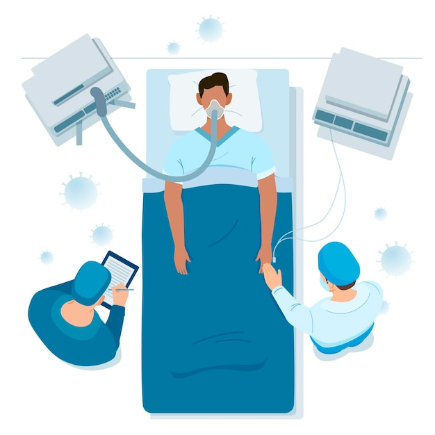 Coronavirus критическая тема пациента Бесплатные векторы