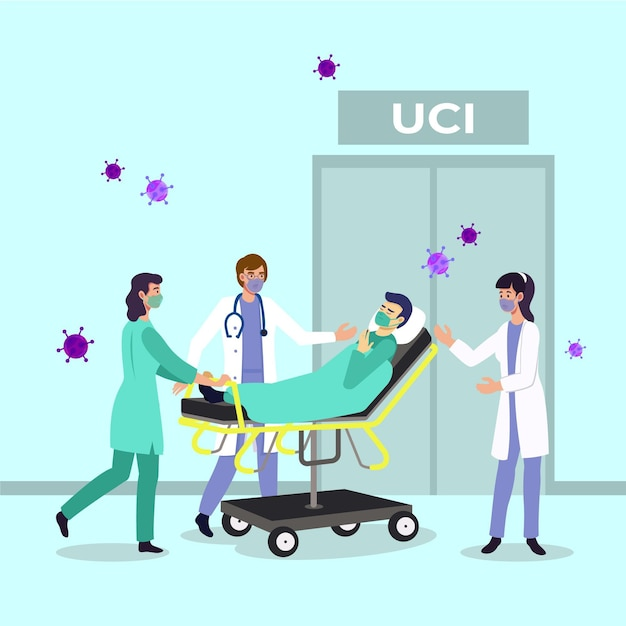 Coronavirus critical patient Free Vector