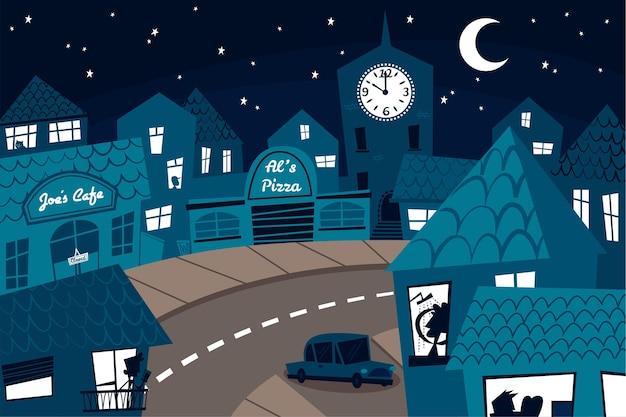 Комендантский час коронавируса ночью иллюстрация Бесплатные векторы