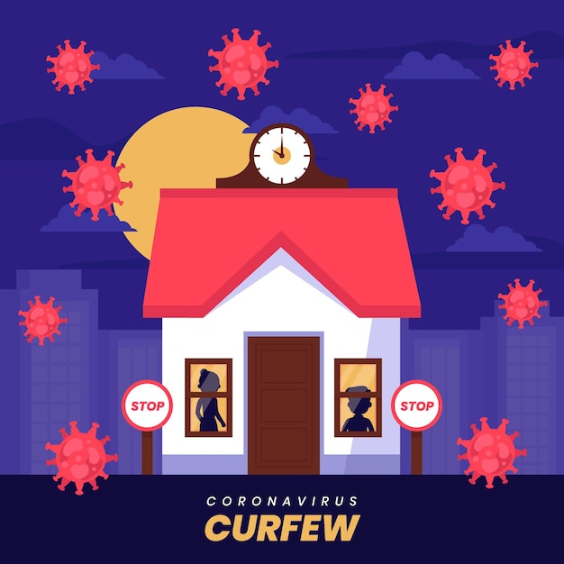 Illustrazione di concetto di coprifuoco di coronavirus Vettore gratuito