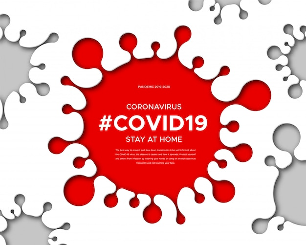 Coronavirus disease 2019-ncov, information banner about the infectious disease. paper art of silhouette of virus, text and hashtag covid19. global pandemic threatens people's health. Premium Vector