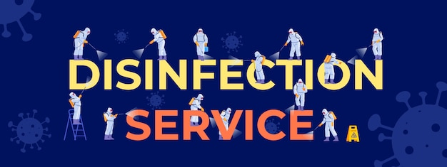 Coronavirus disinfection service. people in virus protective suits and mask disinfecting. cleaning company staff different poses, for web page, social media, posters. cartoon illustration Premium Vector