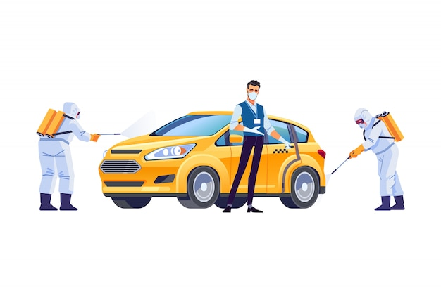 Coronavirus disinfection. taxi driver in a protective mask and gloves. covid-19 or coronavirus pandemic protection. cartoon style illustration isolated on white background Premium Vector