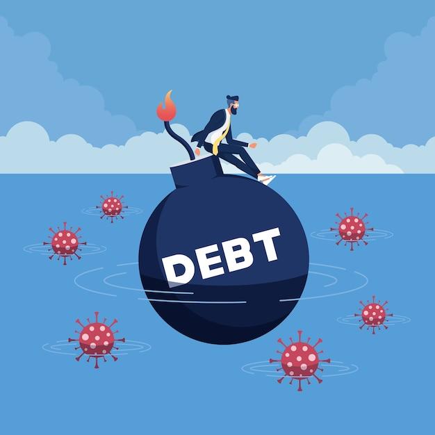 コロナウイルスの経済破綻により、ビジネスと失業に多額の借金が発生 Premiumベクター