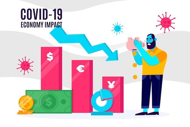 Impatto negativo della regressione dell'economia coronavirus Vettore gratuito