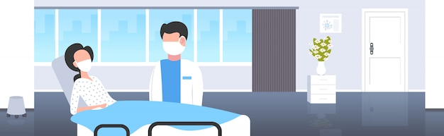 Coronavirus infect control diagnosis concept doctor with mask examining illness patient lying in bed epidemic mers-cov wuhan 2019-ncov hospital ward interior horizontal portrait Premium Vector