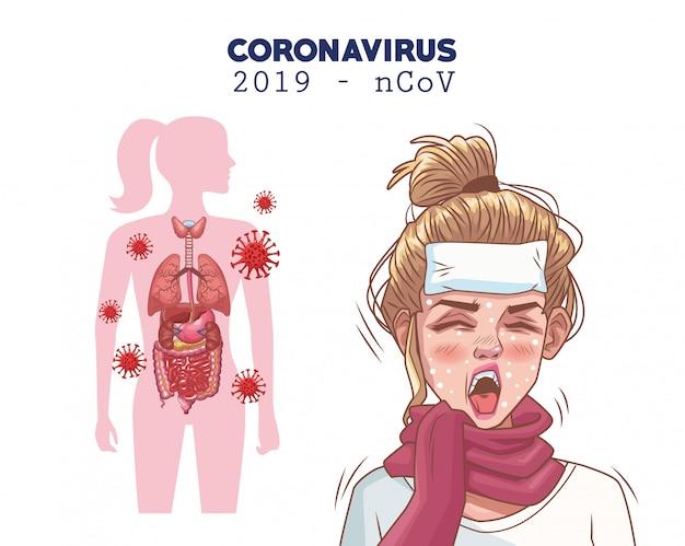 病気の女性キャラクターとコロナウイルスのインフォグラフィック Premiumベクター